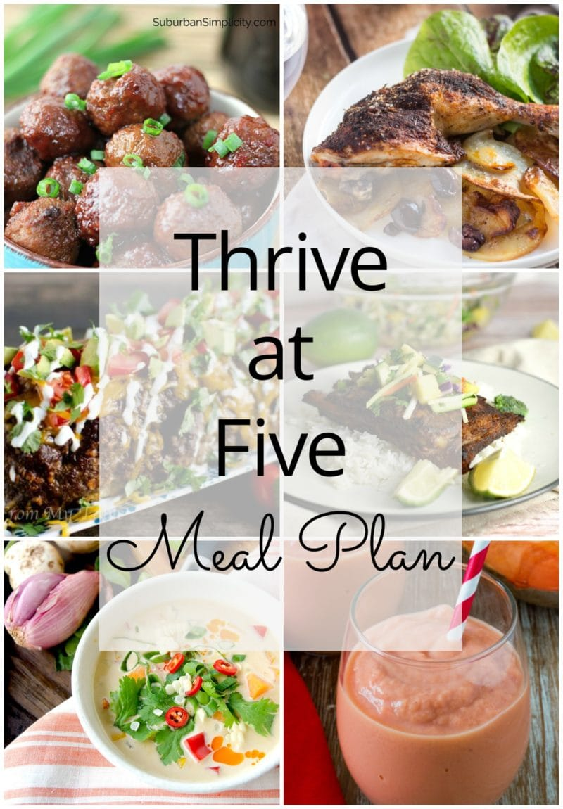 Thrive at Five Meal Plan – Week #15 ~ A weekly meal plan for busy parents. This week's meal plan features a Thai Pumpkin Corn Soup, a low carb Mexican meatloaf, a simple 3 ingredient crockpot meatballs recipe, Spanish chicken traybake, slow cooker pork ribs, cinnamon rolls made with no yeast and a healthy yummy tropical smoothie. #mealplan smartlittlecookie.net