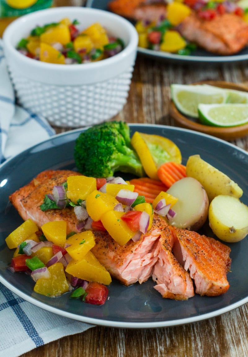 cut open pan seared salmon