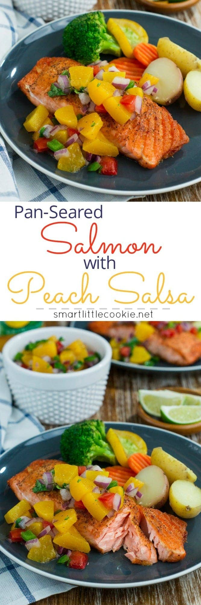 Make this quick, easy and absolutely delicious Pan-Seared Salmon with Peach Salsa and have dinner on the table in 20 minutes or less! #easyrecipe #VidaDole #ad www.mydominicankitchen.com