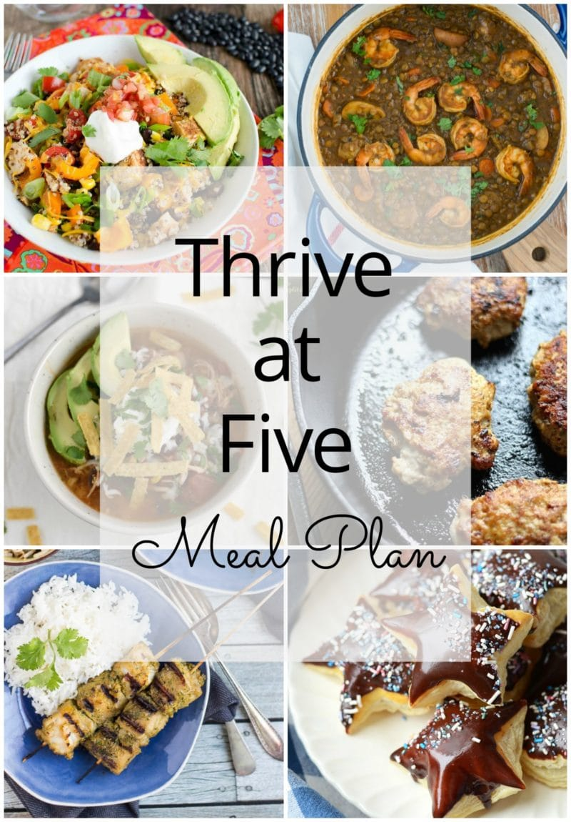 Thrive at Five Meal Plan – Week #19 ~ A weekly meal plan for busy parents. This week's meal plan features a healthy quinoa burrito bowl, a slow cooker BBQ beef brisket, a yummy enchilada soup, cilantro and turmeric fish skewers, a shrimp and lentils stew, maple sausage and a finger-licking puff pastry donut dessert. #mealplanning www.smartlittlecookie.net