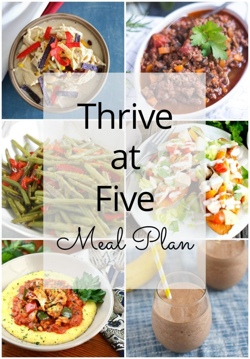 Thrive at Five Meal Plan – Week #20 ~ A weekly meal plan for busy parents. This week's meal plan features chicken stuffed sweet potato, cajun roasted vegetables with grits, a slow cooker white chicken chili, a bolognaise sauce, roasted green beans and a yummy banana nutella milkshake. #mealplan www.smartlittlecookie.net