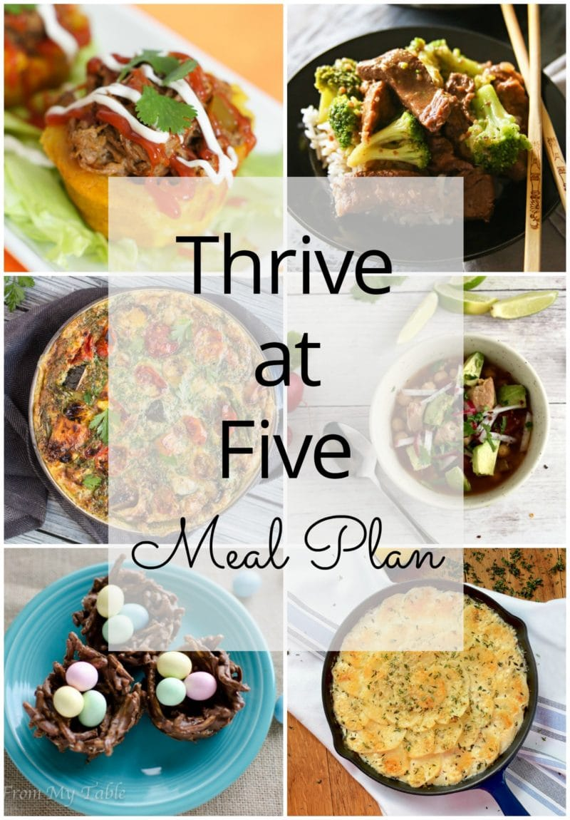 Thrive at Five Meal Plan – Week #21 ~ A weekly meal plan for busy parents. This week's meal plan features a slow cooker pork posole, a simple lemon butter salmon, a slow cooker beef and broccoli, a roasted vegetable frittata, stuffed plantain cups, a delicious lemon thyme potatoes au gratin and a sweet Easter treat. #mealplan www.smartlittlecookie.net