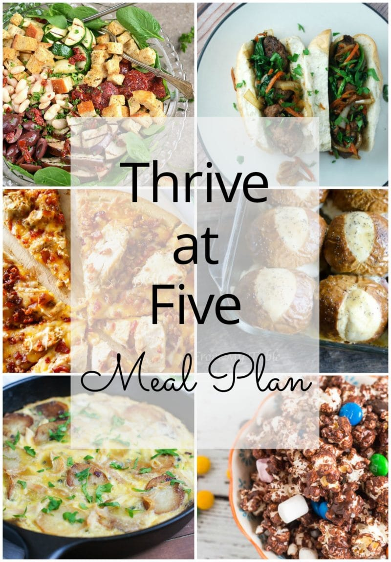 Thrive at Five Meal Plan – Week #22 ~ A weekly meal plan for busy parents. This week's meal plan features baked ham and cheese soft pretzel sliders, sweet skillet meatball Bahn Mi, a yummy Italian Power Salad, a chicken and bacon pizza, a Spanish style tortilla with chicken, a delicious apple cinnamon oatmeal and a sweet chocolate popcorn. #mealplan www.smartlittlecookie.net