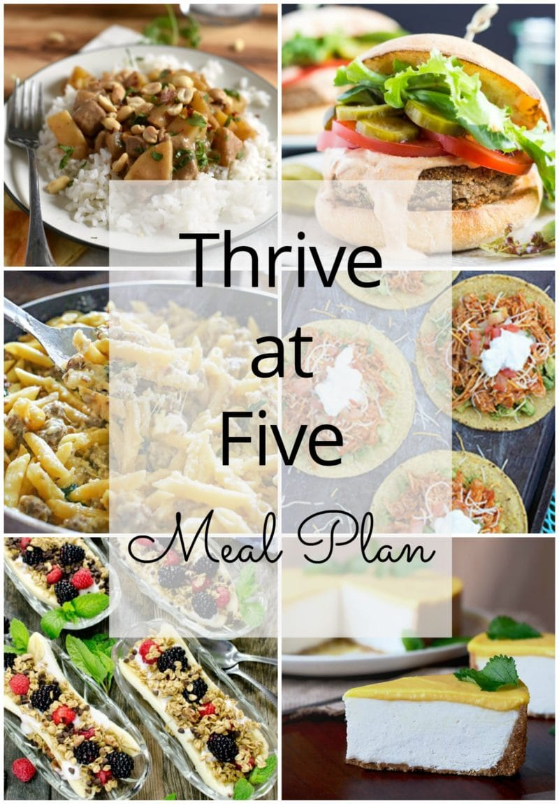 Thrive at Five Meal Plan – Week #24 ~ A weekly meal plan for busy parents. This week's meal plan features a Massaman beef curry recipe, a sheet pan London Broil with potatoes, spinach and sausage one-pan Alfredo, a delicious spiced chickpeas burger, Chipotle chicken tostadas, a breakfast banana split and an out-of-this-world no bake mango lassi cheesecake. #weeklymealplan www.smartlittlecookie.net