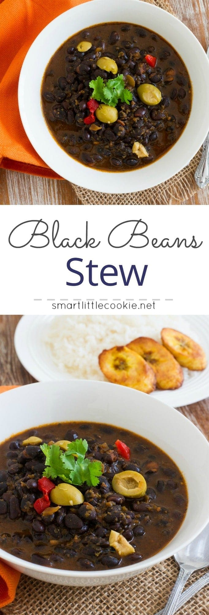 Pinterest graphic. Black bean stew with text overlay.