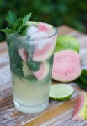 Sweet, refreshing Guava Mojito made with limes, guava nectar, rum and mint leaves. The perfect poolside Summer tropical cocktail to enjoy with friends. #Summer #cocktail www.mydominicankitchen.com