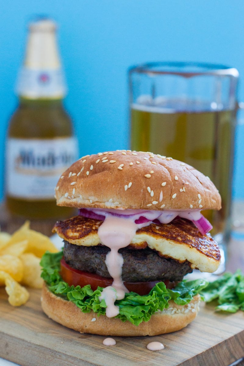 Queso Frito Burger ~ Thick, juicy burger with lettuce, tomato, pickled onions, a beautiful slice of queso frito and a good slather of mayo-ketchup sauce. #burger #Summer mydominicankitchen.com
