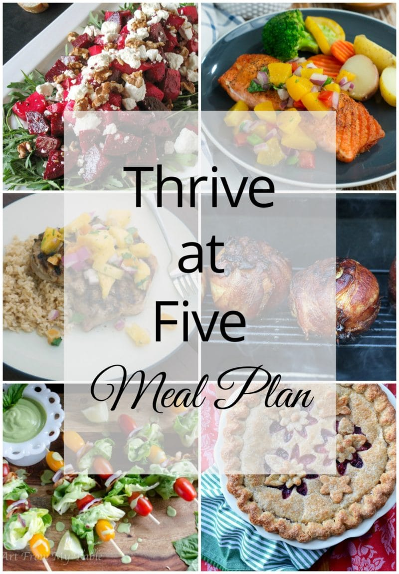 Thrive at Five Meal Plan – Week #28 ~ A weekly meal plan for busy parents. This week's meal plan features a roasted beetroot salad, grilled onion bomb, grilled chicken skewers, spiced pork chops with pineapple salsa, pan-seared salmon with peach salsa, a BLT salad on a stick and a yummy mixed berry pie. #mealplanning www.smartlittlecookie.net