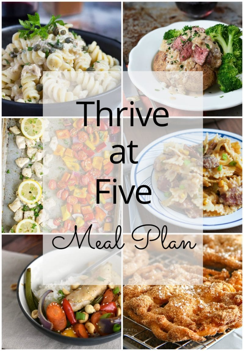 Thrive at Five Meal Plan – Week #25 ~ A weekly meal plan for busy parents. This week's meal plan features Greek chicken sheet pan dinner, an easy steak au Poivre baked potato, lemon tuna pasta, Kung Pao chicken sheet pan meal, creamy bowtie pasta with smoked sausage, an old-fashion lemon bread and a churro funnel cake. #Mealplanning www.smartlittlecookie.net