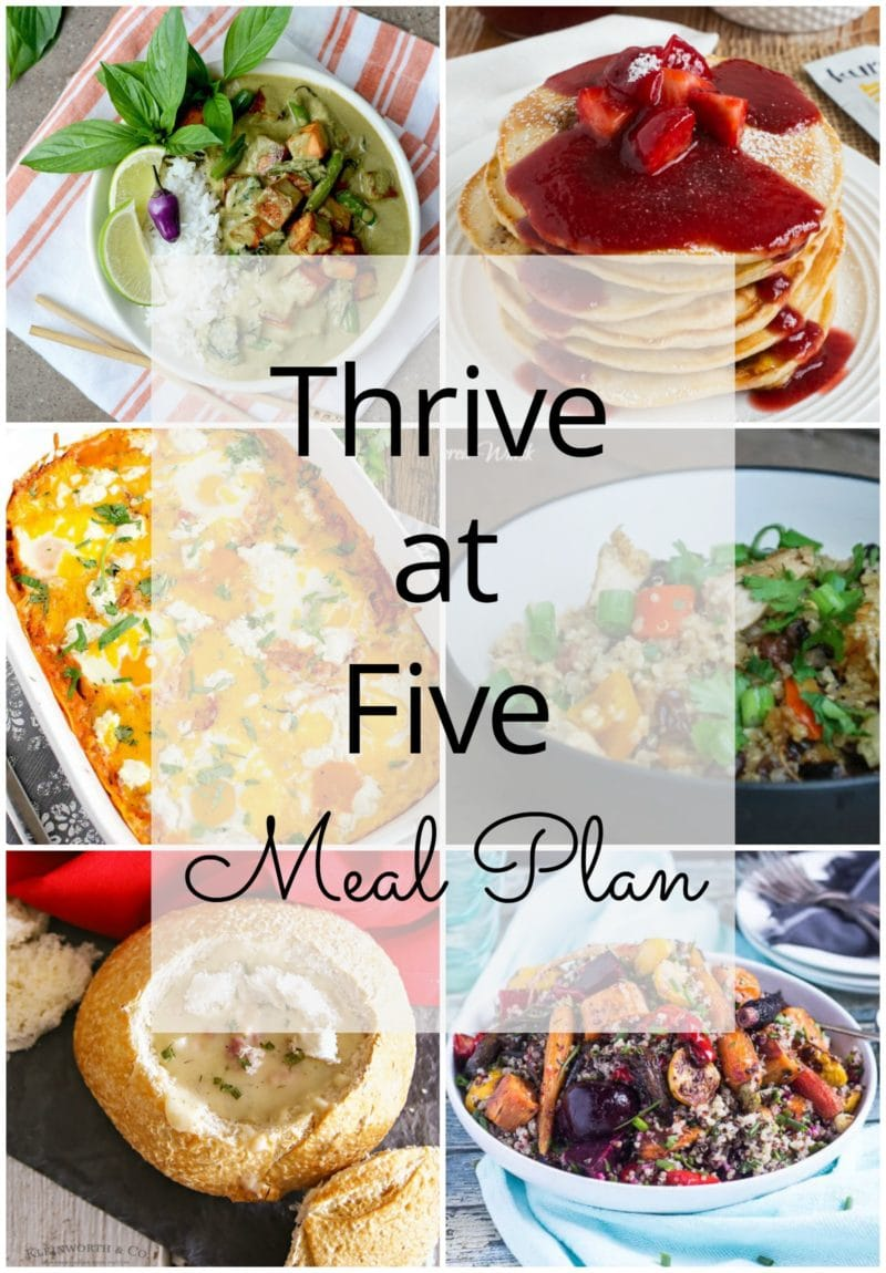 Thrive at Five Meal Plan – Week #26 ~ A weekly meal plan for busy parents. This week's meal plan features a Vegan Thai grenn curry, a Thai chicken quinoa casserole, cheesy baked eggs in tomato cream sauce, a creamy crock-pot chicken Stroganoff, a clam chowder bread bowl, strawberry vanilla pancakes and and a simple Mediterranean quinoa salad.
