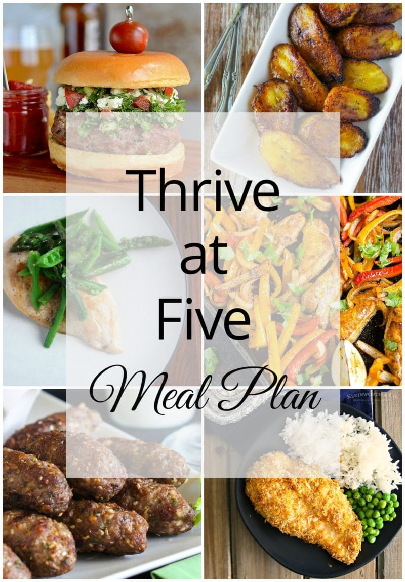 Thrive at Five Meal Plan – Week #27 ~ A weekly meal plan for busy parents. This week's meal plan features sheet pan chicken fagitas, Tabouleh turkey burgers, an easy Dukkah-Spiced Lamb Koftas, crispy Sriracha cheesy chicken bake, chicken scaloppine, Poblano grilled corn on the cob and fried sweet plantains. #mealplanning #easycooking www.smartlittlecookie.net