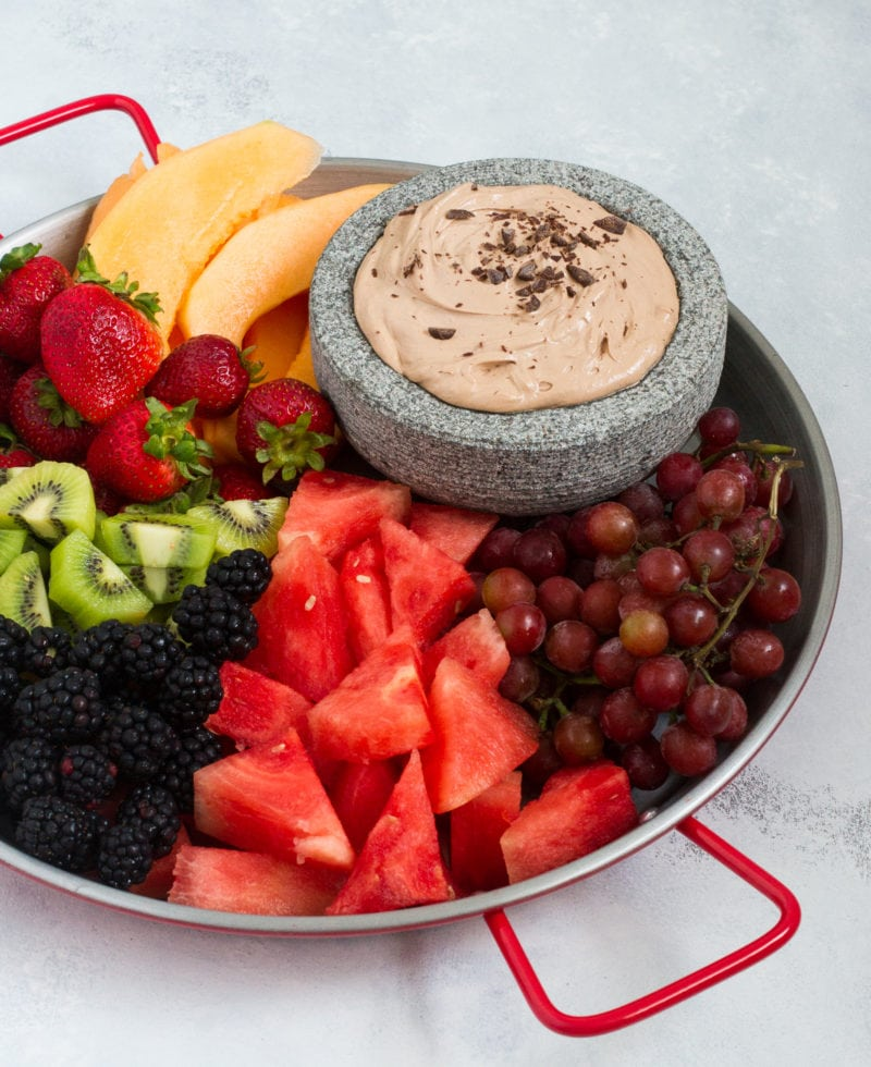 This easy Chocolate Fruit Dip is perfectly creamy, chocolaty with a hint of hazelnut flavor and it's made with only 3 ingredients.