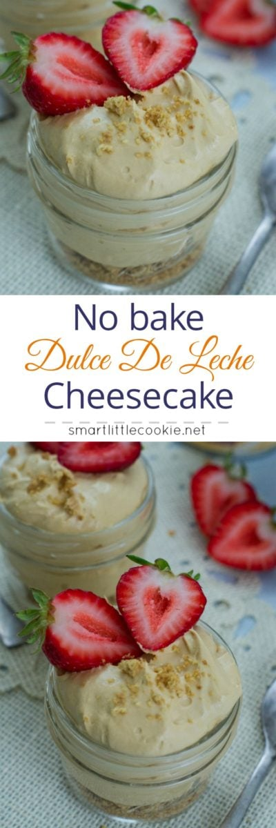 Pinterest graphic. No bake dulce de leche cheesecake with text overlay.