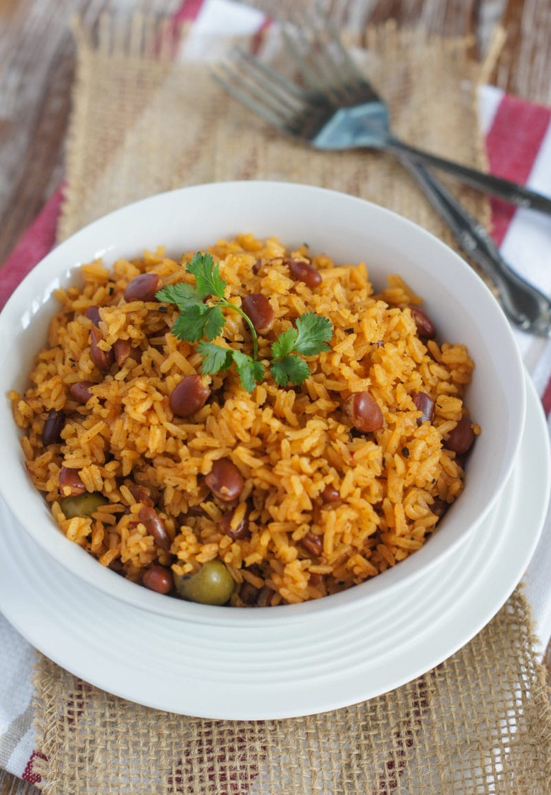 Rice with Beans (Moro de Habichuelas) served on a white bowl