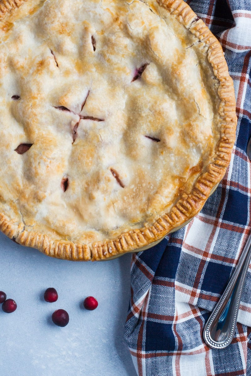 apple cranberry pie on a cloth