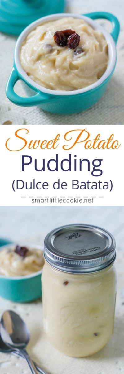 Sweet and creamy Dominican style sweet potato pudding (Dulce de Batata) made with sweet potatoes, milk, sugar, cinnamon, vanilla and raisins. A quick and easy dessert that's perfect for sharing.