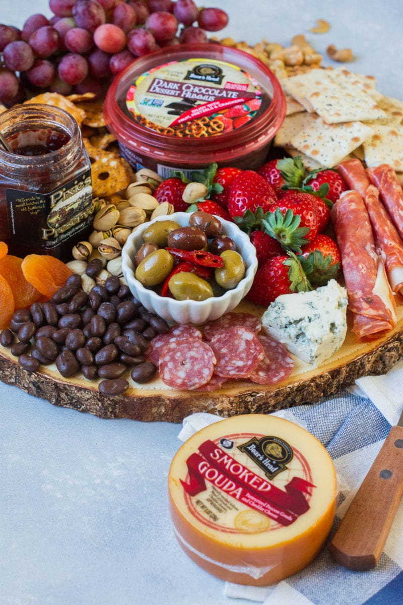 The party platter with meats, olives, chutneys and cheeses.