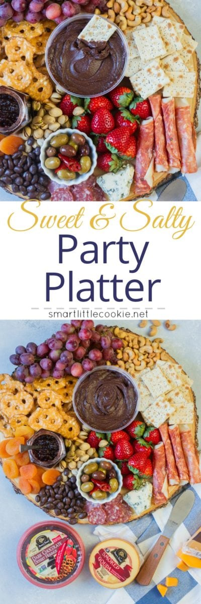 Pinterest graphic. Sweet and salty party platter with text.
