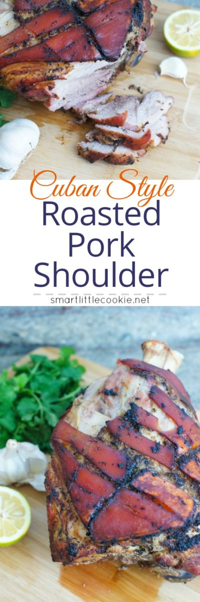 Pinterest graphic. Roasted pork shoulder with text overlay.