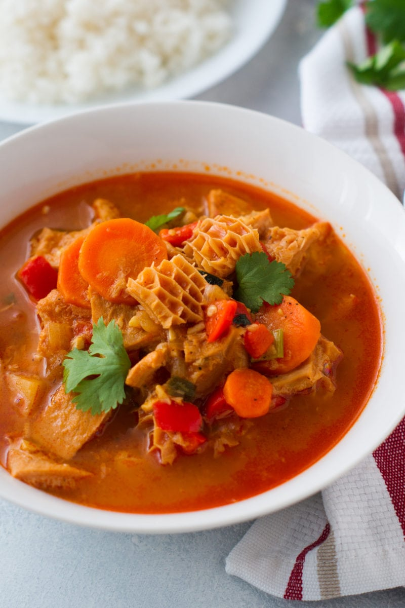 Tripe Stew served in a white bowl.