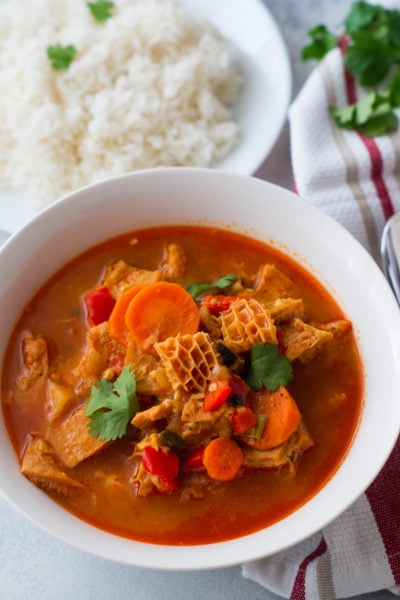 Dominican Style Tripe Stew (Mondongo) - A warm comforting stew made with beef tripe, onion, garlic, peppers, carrots, potatoes, tomato sauce, and cilantro. #ad #9NightsofJoy #9NochesdeAlegria