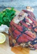 Close up of a roasted pork shoulder.