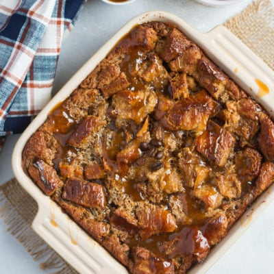 Coffee and Caramel Bread Pudding