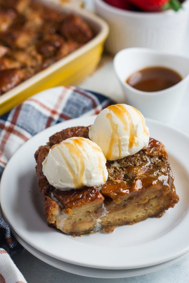 This Caramel Coffee Bread Pudding is decadent and delicious made with challah bread, coffee and drizzled with a yummy caramel sauce. #ad