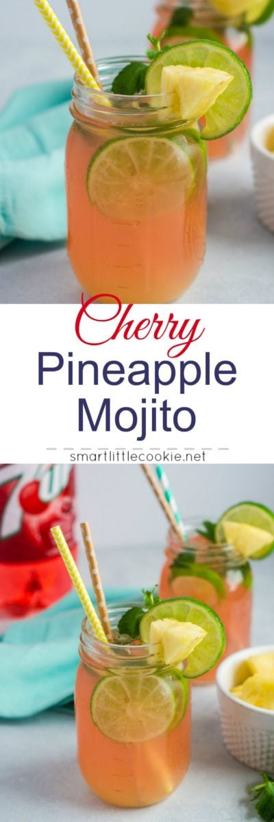 Pinterest graphic. Cherry pineapple mojito with text overlay.