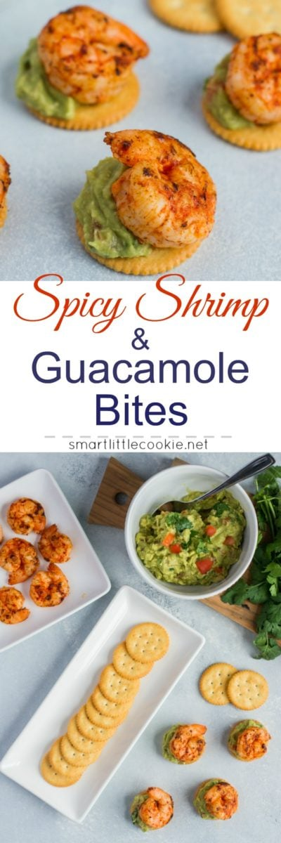 Pinterest graphic. Spicy shrimp and guacamole bites with text overlay.