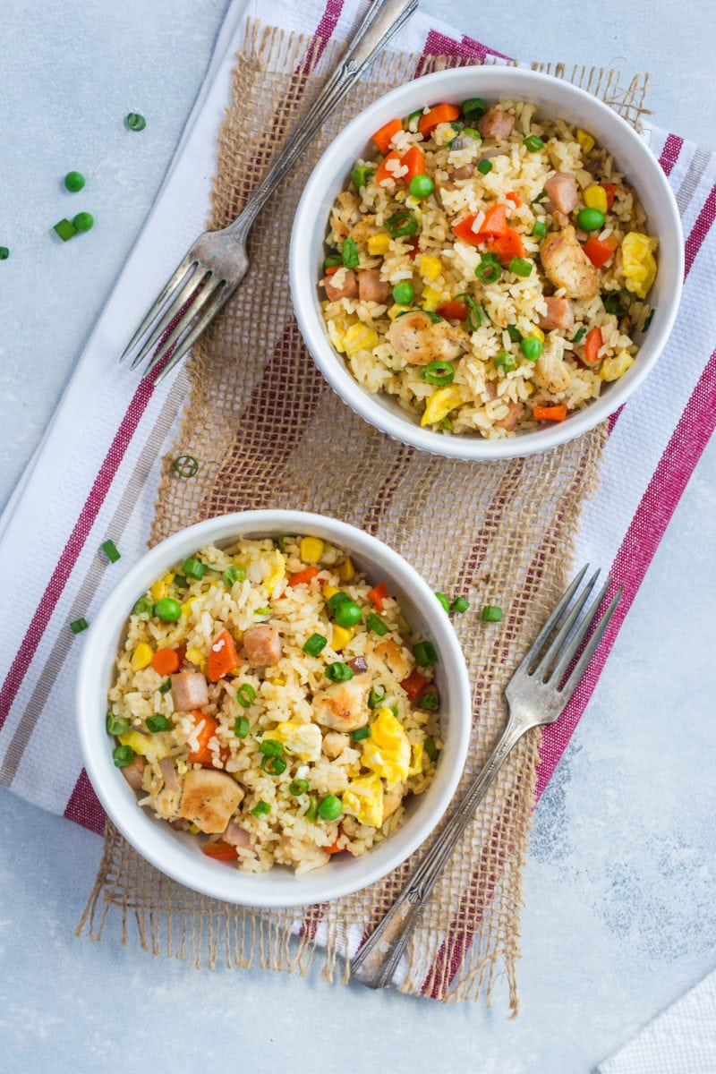 Two bowls of Dominican fried rice.