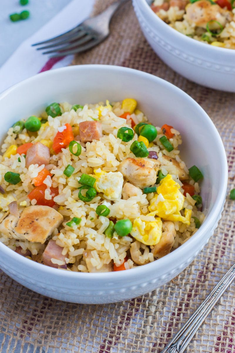 Close up of the fried rice in a white bowl.
