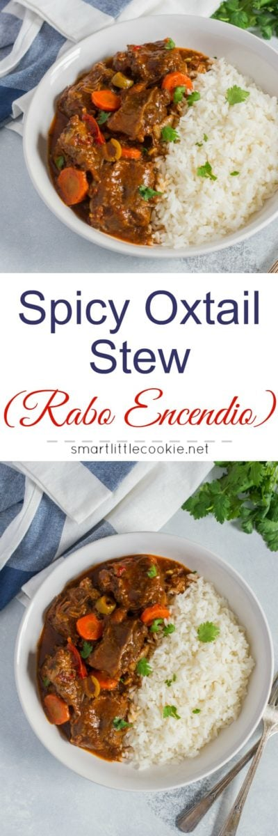 Traditional Dominican StyleSpicy Oxtail Stew (Rabo Encendio) made with beef oxtail, onions, peppers, garlic, cilantro, carrots, tomato sauce, latin seasonings. #HertipOurRecipe #ad
