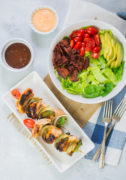 Sweet Honey BBQ Chicken Skewers with BLT Avocado Salad is a quick and delicious meal that's perfect for summer grilling. #ad