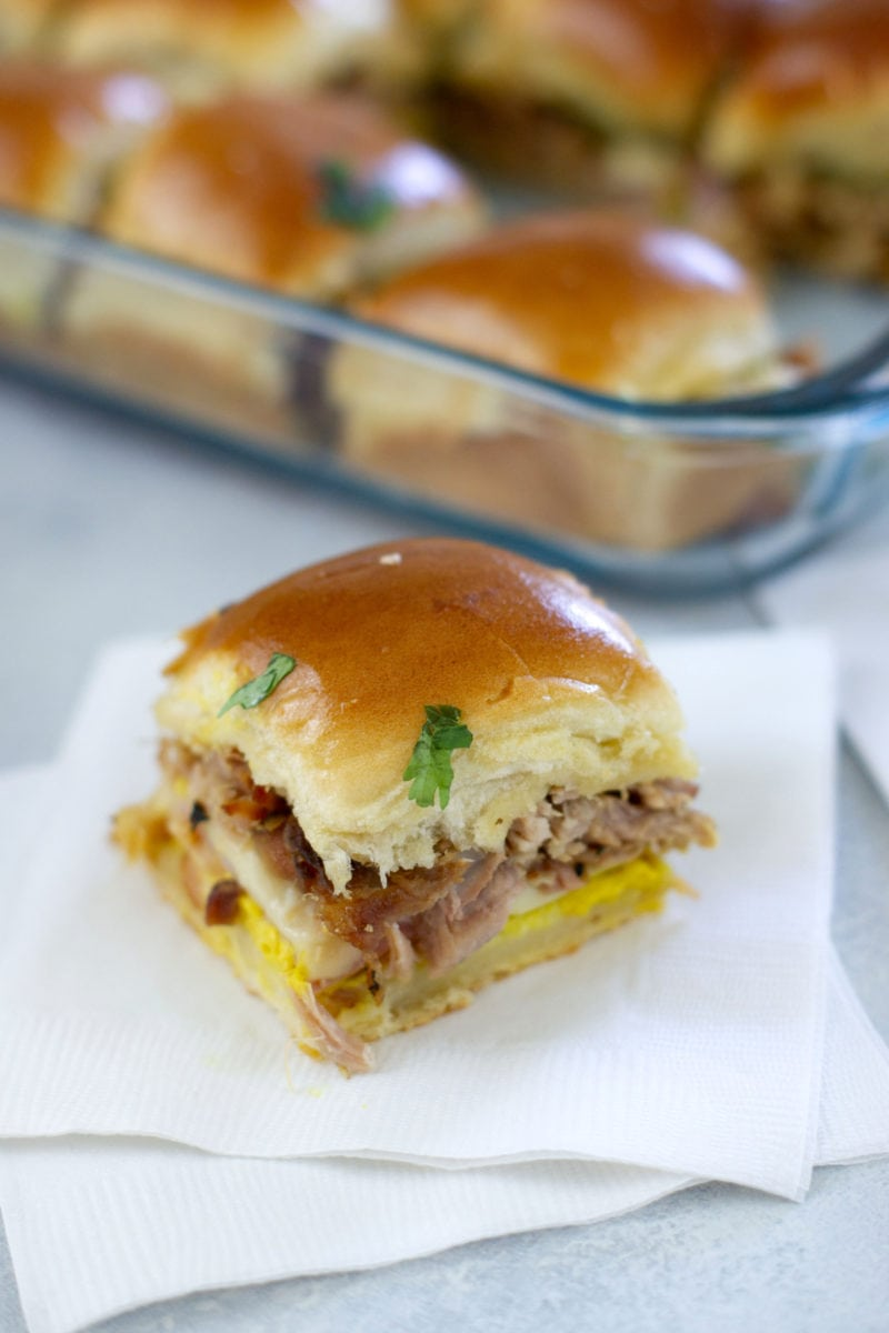 Cuban Sliders made with roasted pork, ham, Swiss cheese, pickles and mustard. - Smart Little Cookie