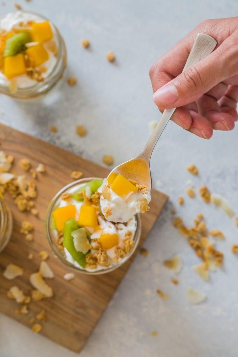 Tropical Fruit Yogurt Parfait with kiwi, mango, granola and yogurt- Smart Little Cookie
