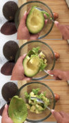 Slicing the avocado and spooning it into a bowl
