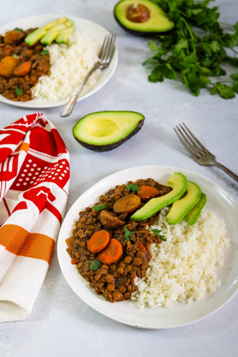 slow cooker lentil stew made with onions, peppers, garlic, celery, carrots, potatoes, and lentils. - Smart Little Cookie