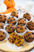Muffins de Calabaza con Chispas de Chocolate packed with pumpkin puree and chocolate chips. - Smart Little Cookie
