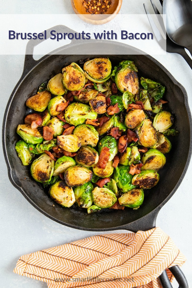 Sprouts and bacon cooked in a skillet.