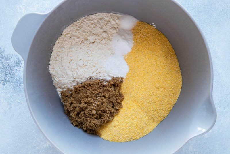 The dry ingredients in a bowl.