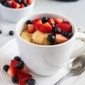 Easy pancake with berries breakfast in a mug