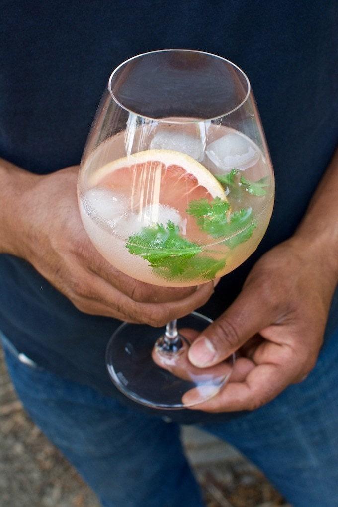 Pink Grapefruit & Cilantro Spanish Gin Tonic cocktail