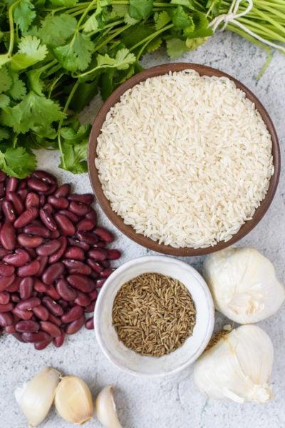 Latin Caribbean Cuisine Igredients: Beans, Rice, Cumin, Garlic, Cilantro