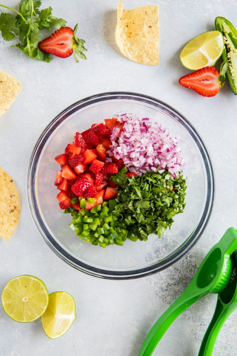 Strawberry Salsa ingredients sectioned in a bowl before mixing.