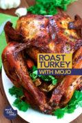 roast turkey with mojo served on a platter