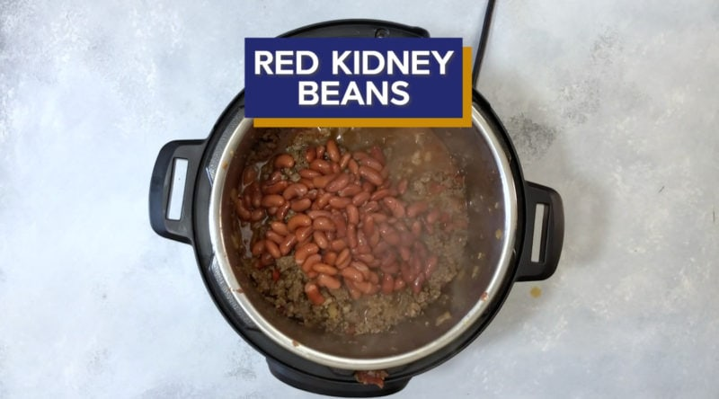 Red beans added to the Instant Pot.