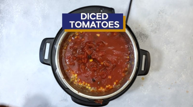 Diced tomatoes added to the Instant Pot.