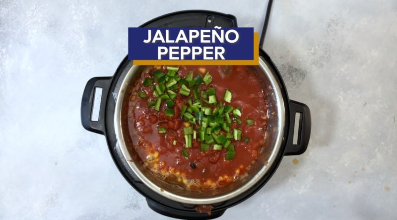 Diced jalapeno added to the Instant Pot.