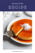 slice of coconut flan being served_Pinterest Collage